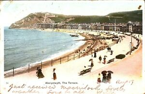 The-Terrace-Aberystwyth-postcard-antique-Wales-colour-printed