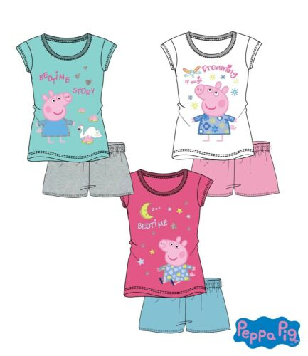 Schlafanzug Shorty Pyjama Mädchen Peppa Pig Wutz Kinder T-Shirt Gr 98-128 Neu