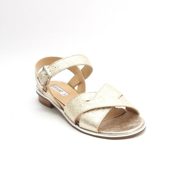 women Piu 53036a gold Silver Leather Comfort Strappy Flats Sandals 41   US 11