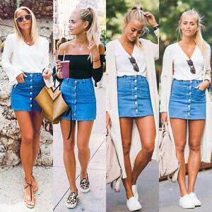 PT-LC-Gn-Donna-Bottoni-di-Jeans-Vita-Alta-Aderente-Slim-Matita-Corto-Mini-S