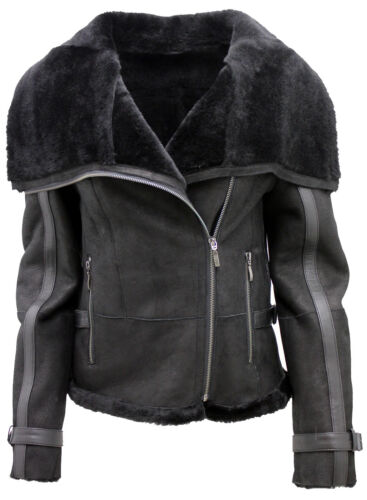 Merino Women's Short Black Jacket Aviator Leather Sheepskin pqZFq