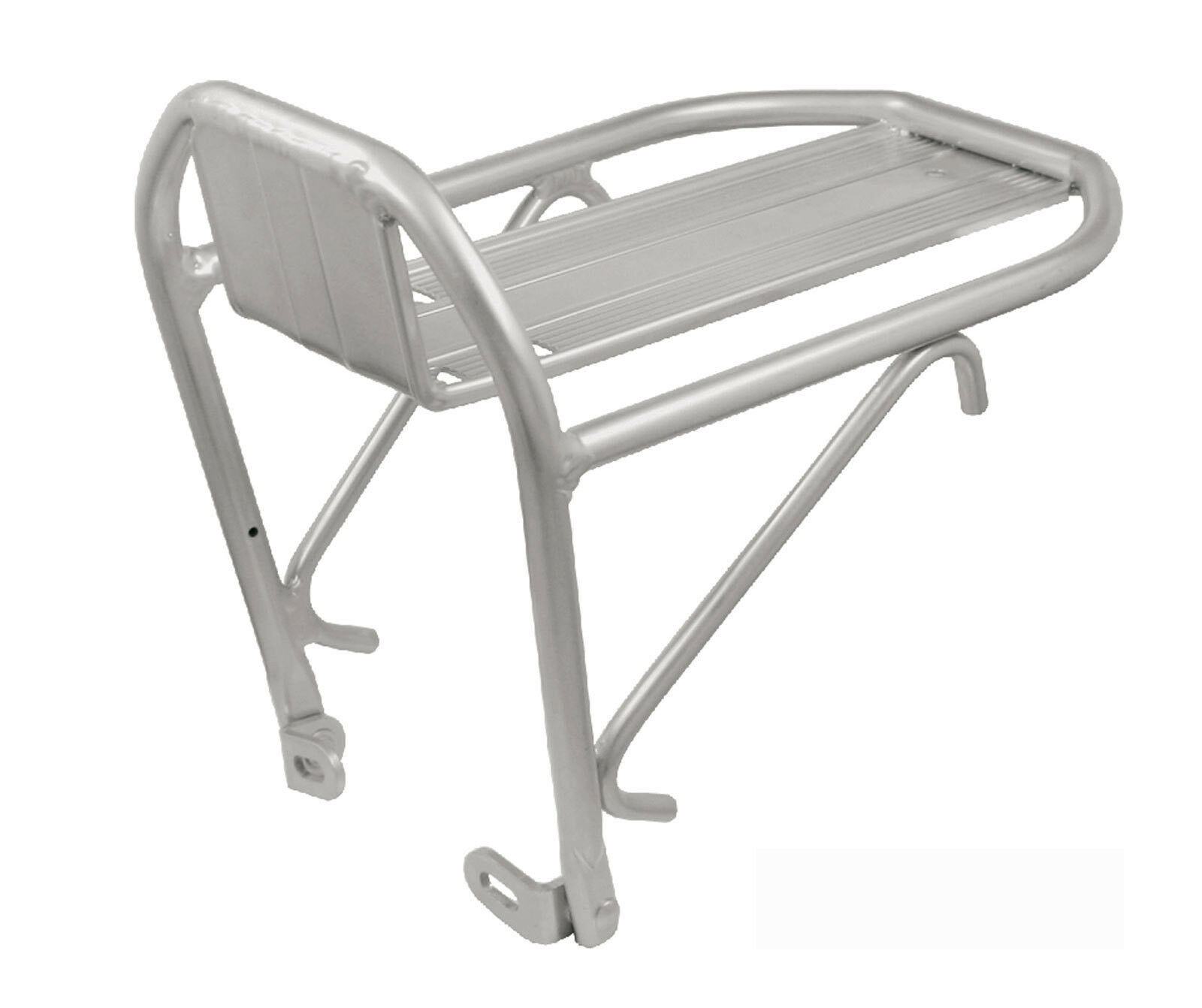 Porta Bultos Alforja Aluminio Plata Delantero Anclaje a Frenos de Bicicleta 6002