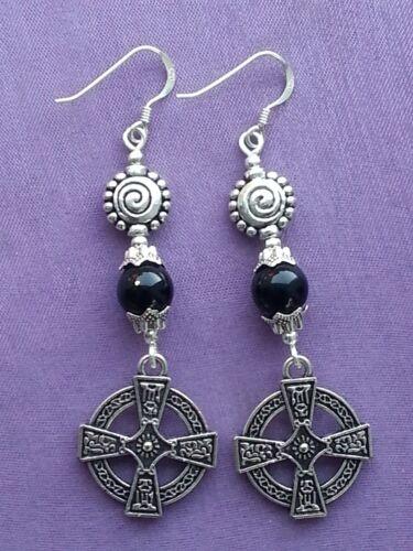 CELTIC VIKING CROSS /& SUN SIGN Black Onyx 925 Sterling Silver Dangle Earrings