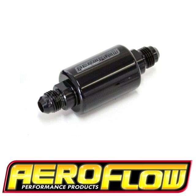 AEROFLOW BLACK BILLET INLINE FILTER 40 MICRON -6AN MALE IN/OUTLETS AF66-2052BLK