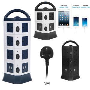 Vertical-Power-Strip-Tower-Multi-Plug-USB-Socket-Surge-Protect-3M-Extention-Lead