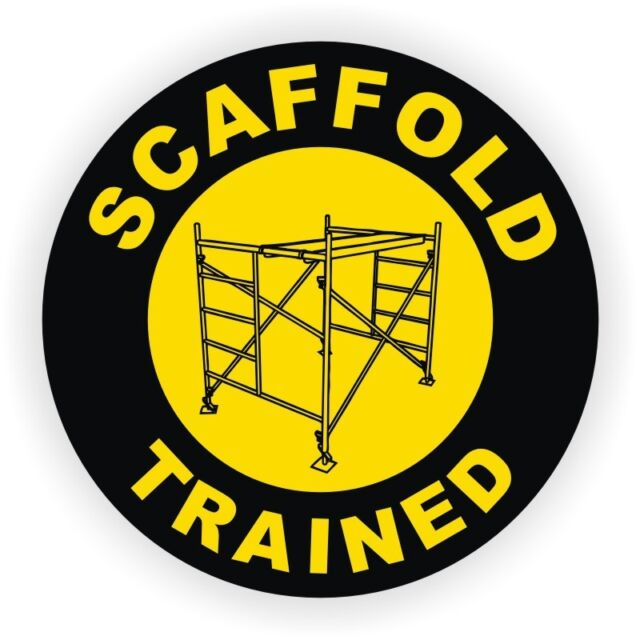 Scaffold Trained Hard Hat Decal / Helmet Sticker Safety Harness Labels Dawg