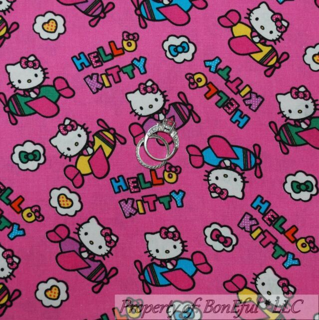 1c73eb90f BonEful Fabric Cotton Quilt Pink HELLO KITTY Cat Airplane Helicopter Girl  SCRAP