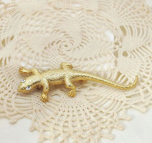 Vintage-Gold-Tone-Lizard-Gecko-Brooch-Pin-W-Rhinestone-Beautiful-Eyes
