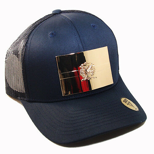 Dominican Republic Trucker Snapback Hat Navy Gold badge by Pedrini Queens NYC