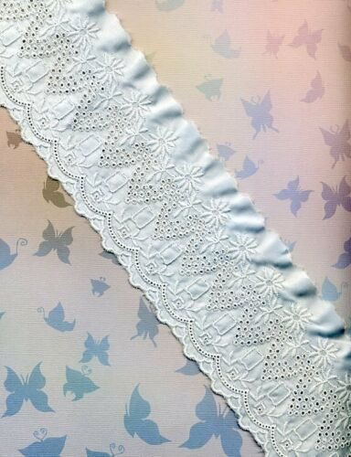 """Vintage Embroidered Peach or Blue satin fabric trim 41//2/""""W Doll Clothes etc"""