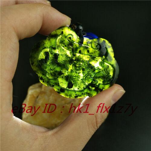 Chinois naturel noir vert jade dragon phoenix Collier Pendentif Bijoux Amulette