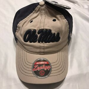 Zephyr NCAA Ole Miss Adjustable Strap Back Hat Cap Mississippi Dean Navy Tan NWT