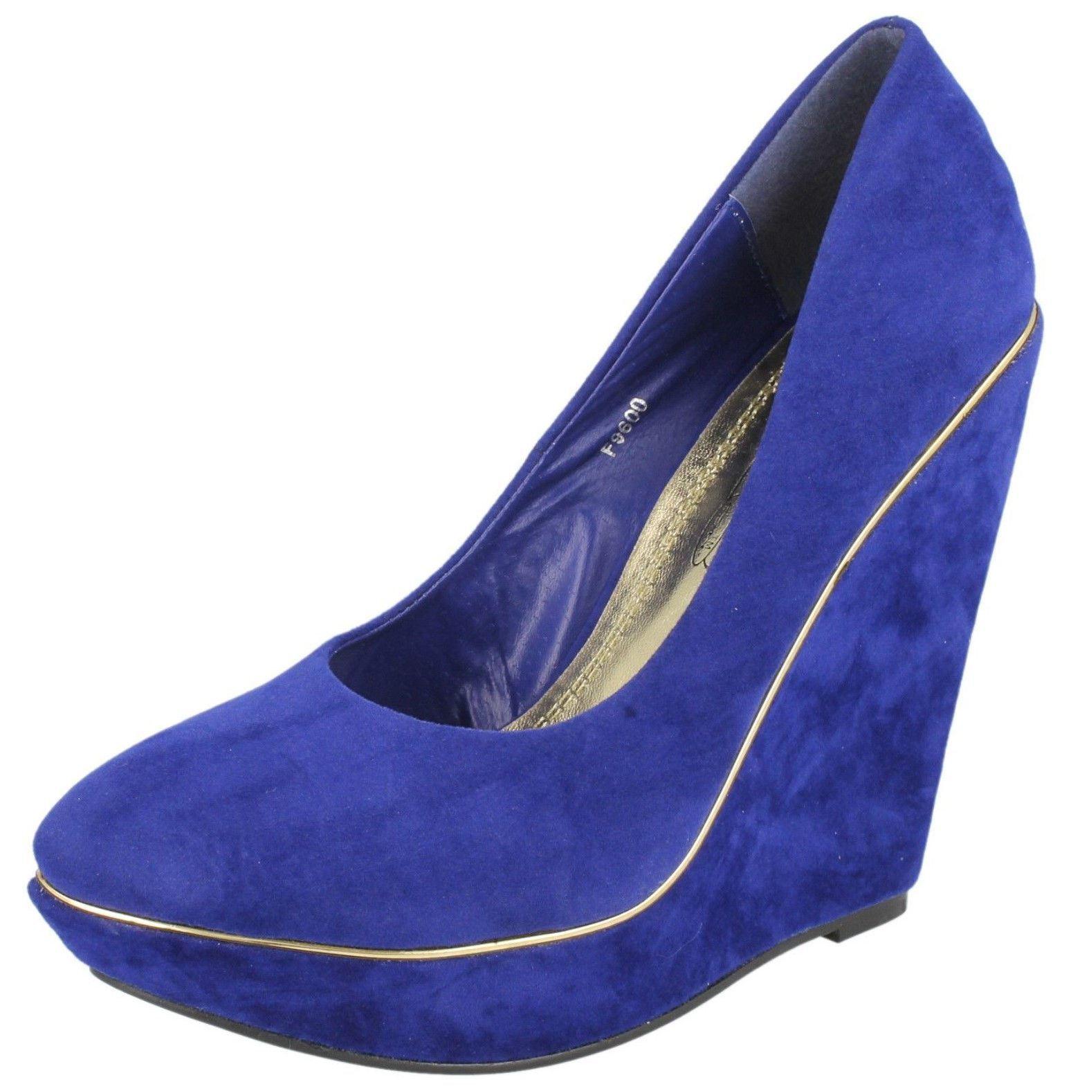 Moda jest prosta i niedroga Mujeres Puntera Azul Zueco Mocasín Zapatos De Salón Plataforma Tacón F9600