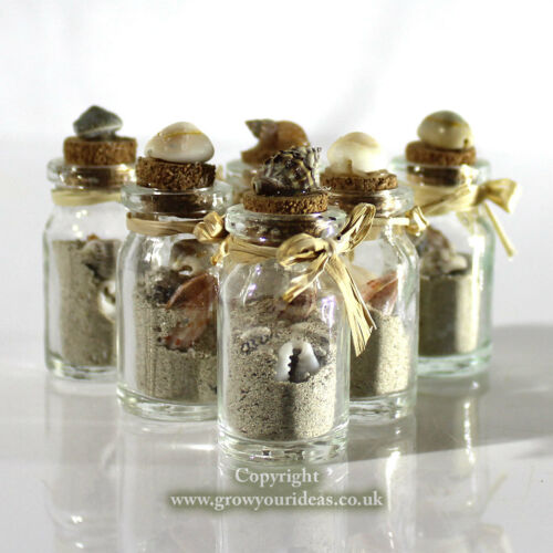 6 x Beach in a bottle Micro shells and real beach sand inside small bottle