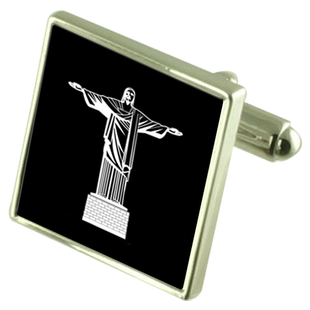 Cristo Redentore argentoo Sterling Sterling Sterling Gemelli Opzionale Inciso Scatola 8a0e6b