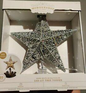 Wondershop At Target Led Lit Tree Topper Silver Star 20 Lights NIB