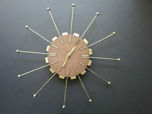 Vintage Starburst Wall Clock Mid