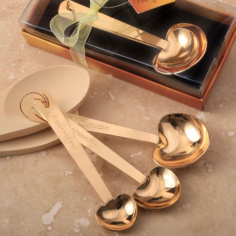 15 Gold Heart Measuring Spoon Sets Boxed Boxed Boxed Wedding Bridal Baby Shower Party Favors acf9d6