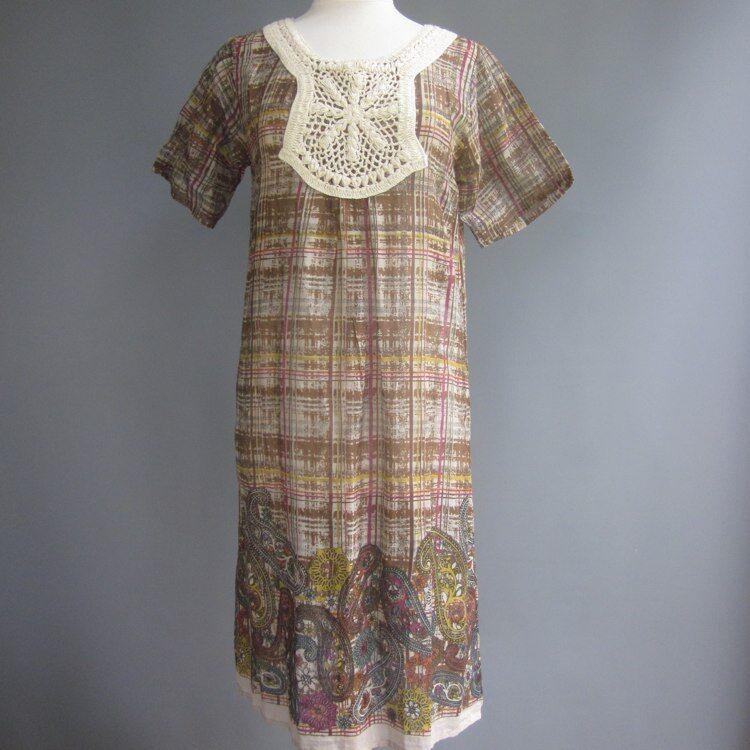 Primary Hippie Boho India Paisley Dress Chunky Crochet Sheer Cotton Orig 219 M L