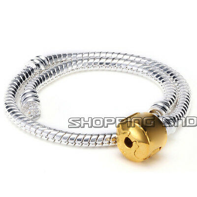 Snake Chain Gold/Silver/Black Plated Charm Bracelets Fit European Beads 16-24cm