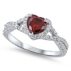 Sterling-Silver-925-HEART-LOVE-KNOT-GARNET-CLEAR-CZ-PROMISE-RING-8MM-SIZE-4-12