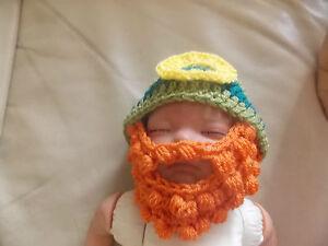 Image is loading Crochet-baby-leprechaun-hat-beard-beanie-photo-props- 8ba2c99ee07