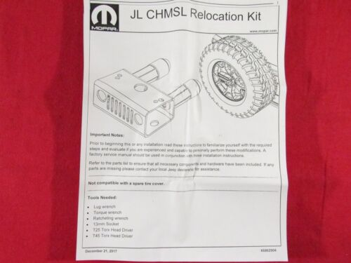 JEEP WRANGLER JL High Mounted Center Stoplight Relocation Bracket NEW OEM MOPAR