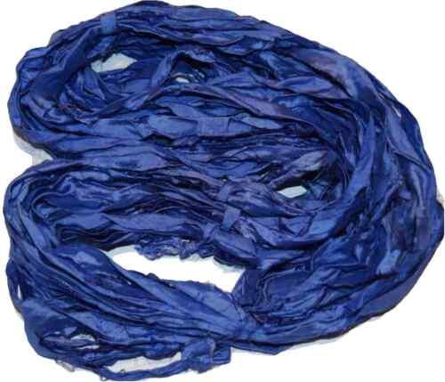 10 yards Recycled Sari Silk Ribbon Yarn Blue4 for tassels,embellishment