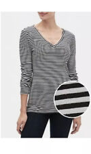 GAP Long Sleeve  V Neck T Shirt  Favorite  Women`s Tee Top  Black Striped NWT