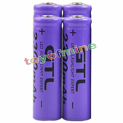 4x 3.7V 2300mAh 14500 GTL14500 AA Li-ion Rechargeable Battery Red - LED Torch