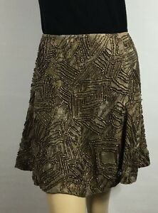 Ralph-Lauren-Blue-Label-Womens-Skirt-Brown-Size-10-Beaded-Silk-Linen-Silk-Lined