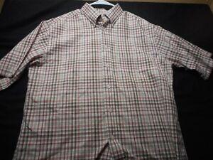 Turnbury-Plaid-White-Green-Red-Cotton-Medium-Short-Sleeve-Men-039-s-Shirt