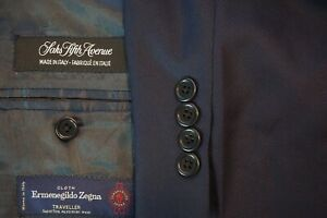 Saks Fifth Avenue Ermenegildo Zegna Traveller Blue Textured Stripe 2 Pc Suit 46R