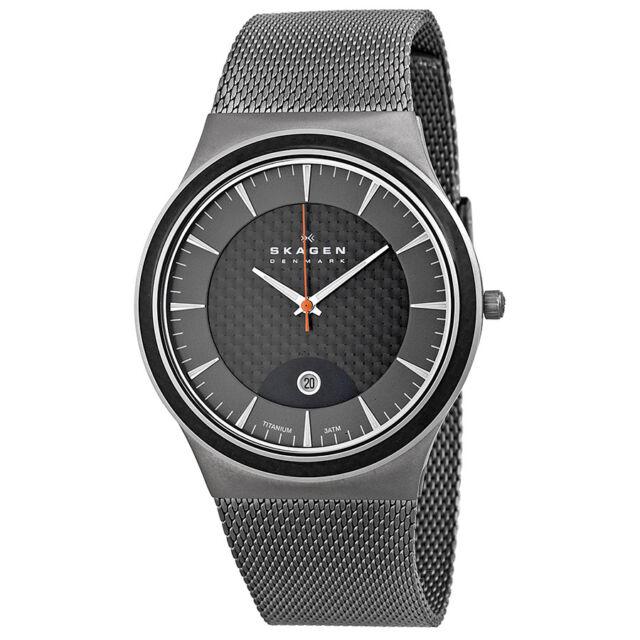 Skagen Black Carbon Fiber Dial Titanium Mens Watch 234XXLT