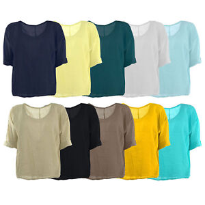 New-Womens-Italian-Plain-Linen-Crop-Top-Ladies-Blouse-Lagenlook-Top-Plus-Sizes