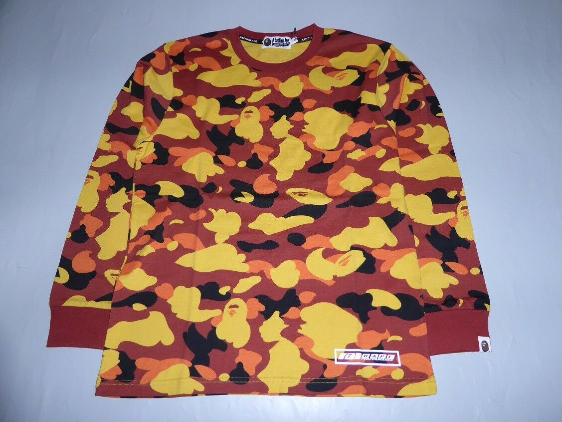 18915 bape 18A W 1st camo long sleeve orange tee L