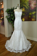 Ivory strapless lace Floor length wedding dress in mermaid shape