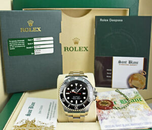 ROLEX-44mm-Stainless-Deepsea-SeaDweller-Black-Dial-BOX-amp-CARD-116660-SANT-BLANC