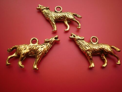 5 or 10  gold coloured Werewolf  charms 26 x 20 mm wiccan pagan jewellery crafts