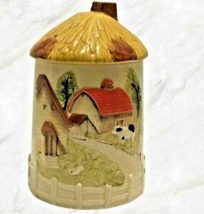 Vintage-1970s-Sears-Cookie-Jar-Hay-Stack-Lid-Farmhouse-Barn-Farmhouse-Decor