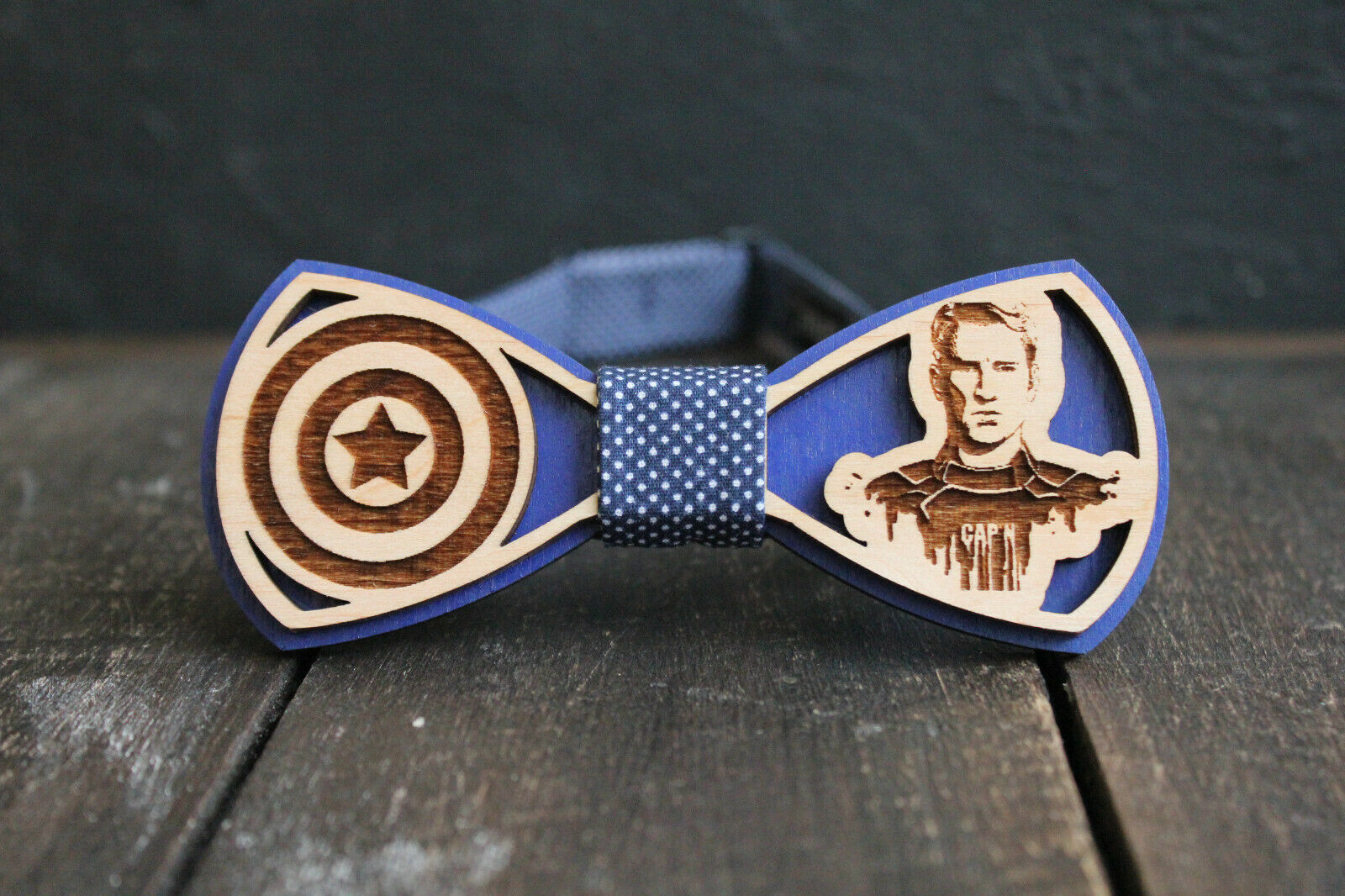 Wooden Bow Tie Marvel Bow Tie Fan Woodcarving Pretied Super Hero Captain America
