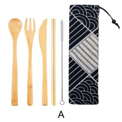 Wooden Tableware Set Portable Japanese Bamboo Dinnerware Kit Straw Spoon Fork