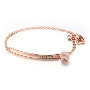 Rose-Gold-Filled-Chain-Link-Bracelet-Bar-Cubic-Zirconia-Pave-Charm-Adjust-Length