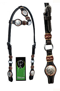 Western-Dark-Oil-One-Ear-Rawhide-Braided-Headstall-with-rings-and-Conchos