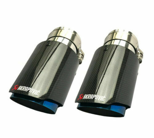 2X Glossy Carbon Fiber Exhaust tips 63-89mm Universal Akrapovic Blue End Pipes