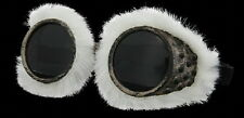 SteamPunk Cosplay Artic Explorer Style Fur Lined Goggles, NEW UNUSED
