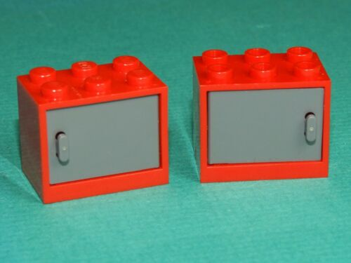 Lego Red Cabinet w// Dk Bl St Gray Door Lot of 2