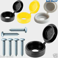 12 x NUMBER PLATE FIXING HINGE COVER KIT BLACK WHITE YELLOW CAPS S/TAPING SCREWS