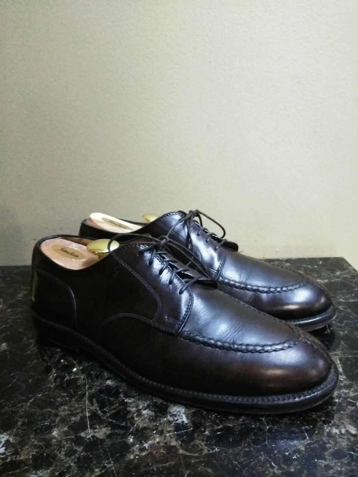 Alden 925 Norwegian Split Toe Handsewn Dark Marronee Blucher Derby scarpe Sz 8.5 B D