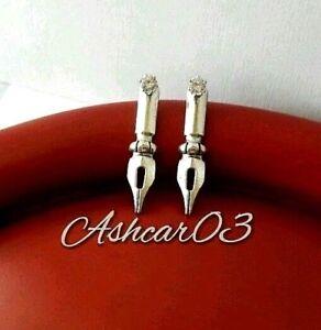 Writer-Author-Pen-Blogger-Front-Back-Ear-Jacket-Silver-Steel-Stud-Earrings